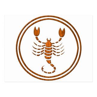 Carved Wood Scorpio Zodiac Symbol Post Card