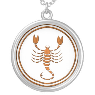 Carved Wood Scorpio Zodiac Symbol Silver Plated Necklace
