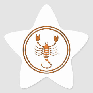 Carved Wood Scorpio Zodiac Symbol Star Sticker