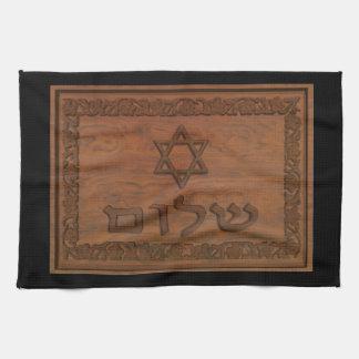 Carved Wood Shalom Tea Towel