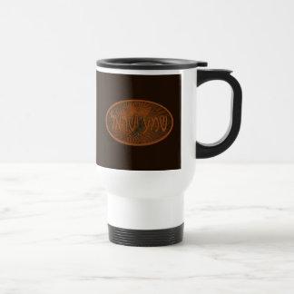 Carved Wood Shalom Travel Mug