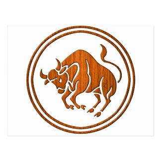 Carved Wood Taurus Zodiac Symbol Postcard