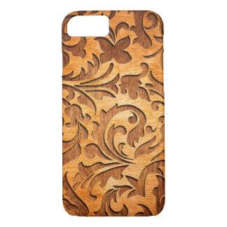 Carved Wood Vintage Floral Swirls Design iPhone 7 Case