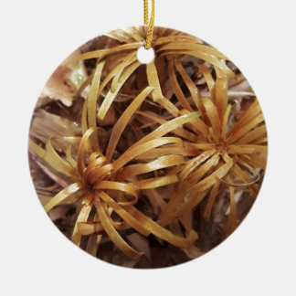 carved wooden flowers round ceramic decoration