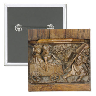 Carving depicting a couple in cart pulled by a 15 cm square badge