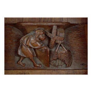 Carving of a miller, from a choir stall poster