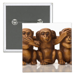 Carving of three wooden monkeys 15 cm square badge
