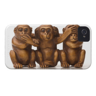 Carving of three wooden monkeys iPhone 4 cases