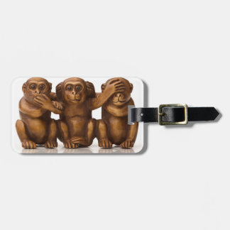 Carving of three wooden monkeys luggage tag
