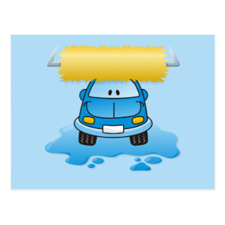 Carwash cartoon postcard