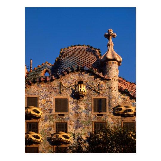 Casa Batilo, Gaudi Architecture, Barcelona, Postcard