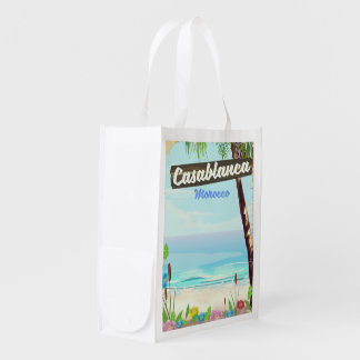 Casablanca Morocco, romantic vintage poster Reusable Grocery Bag