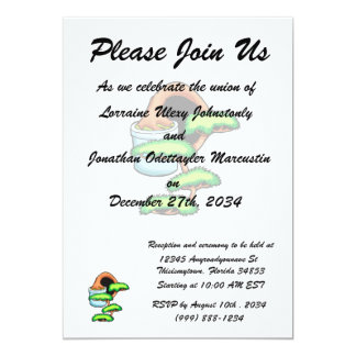 "cascade bonsaii graphic green.png 5"" x 7"" invitation card"