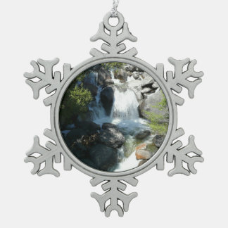 Cascade Falls at Yosemite National Park Pewter Snowflake Decoration