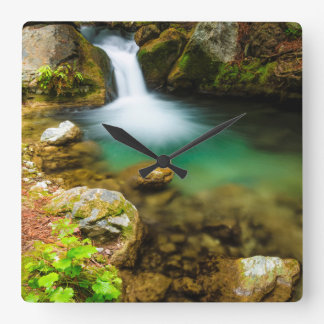 Cascade on Hare Creek, California Square Wall Clock