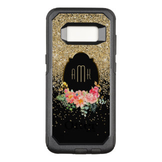 Cascades of Gold Glitter with Floral Monogram OtterBox Commuter Samsung Galaxy S8 Case