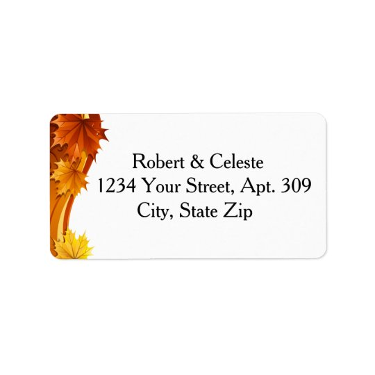 Cascading Autumn Leaves Address Label