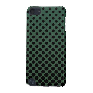 Cascading Black circles on dark green iPod Touch (5th Generation) Cover