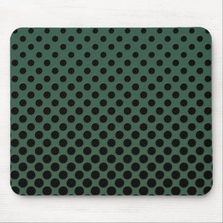 Cascading Black circles on dark green Mouse Pad
