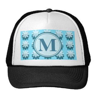 Cascading Blue Snowflake Monogram Cap