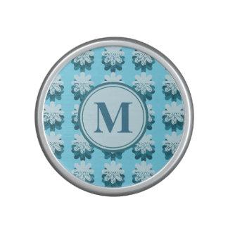Cascading Blue Snowflake Monogram Speaker