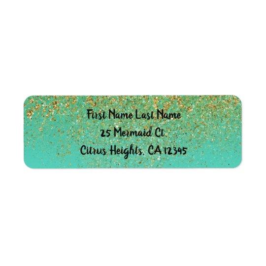 Cascading Gold Glitter & Teal Aqua Glam Trendy