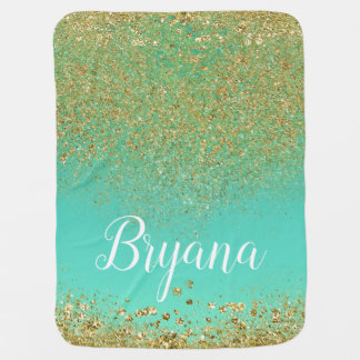 Cascading Gold Glitter & Teal Aqua Personalized Baby Blanket