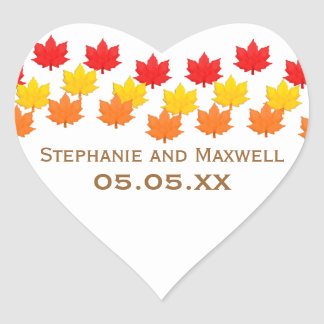 Cascading Leaves Fall Wedding Stickers