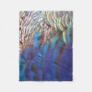 Cascading Peacock Feather Fleece Blanket