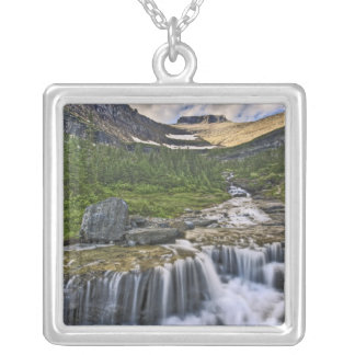 Cascading stream, Glacier National Park, Silver Plated Necklace