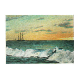 Casco Bay, MaineShip in the Bay at Sunrise Canvas Print