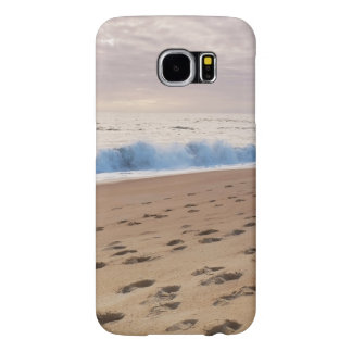Case: Beach waves and footprints Samsung Galaxy S6 Cases