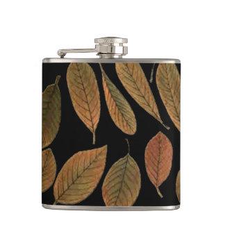 Case black bottom, brown leaves of autumn hip flask