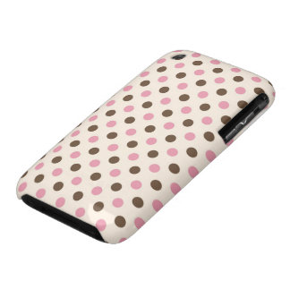 Case/Cover - girly pink and brown polka dots iPhone 3 Case-Mate Cases