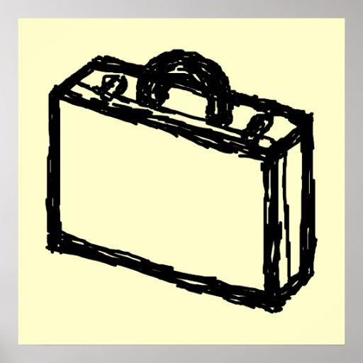 Case Sketch. Black and Cream. Suitcase, Briefcase Print