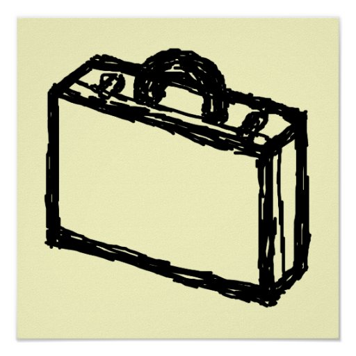 Case Sketch. Black and Cream. Suitcase, Briefcase Poster