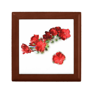 case with red flowers small square gift box