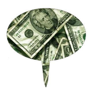 Cash money design cake picks
