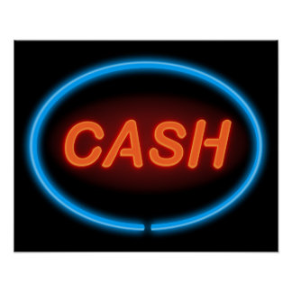 Cash neon. poster