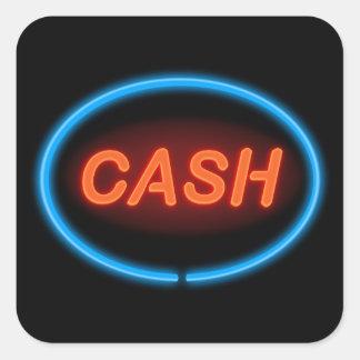 Cash neon. square sticker