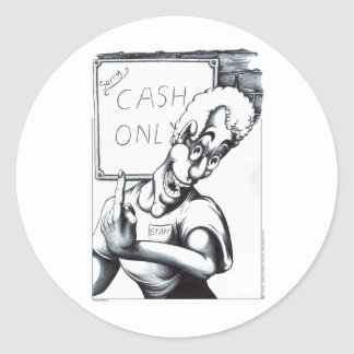 Cash Only Classic Round Sticker