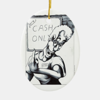 Cash Only Ceramic Oval Decoration