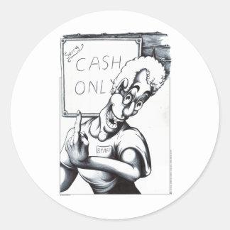 Cash Only Round Sticker