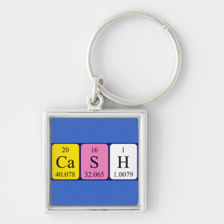 Cash periodic table name keyring Silver-Colored square key ring