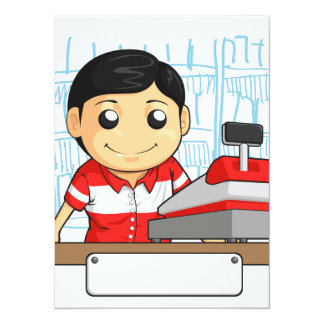 Cashier Employee with Friendly Smile 14 Cm X 19 Cm Invitation Card