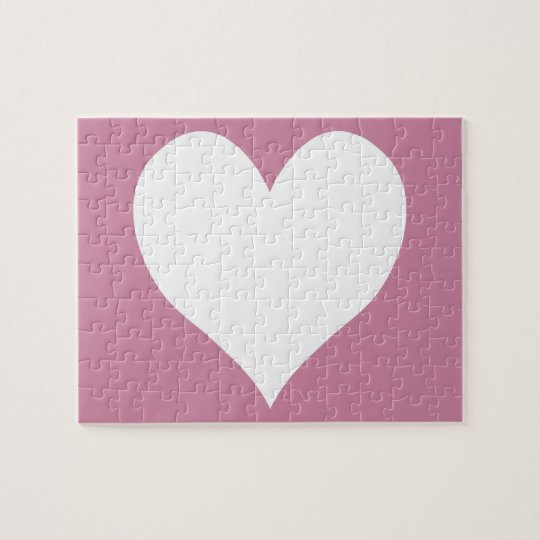Cashmere Rose and White Cute Heart Jigsaw Puzzle