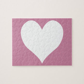 Cashmere Rose and White Cute Heart Puzzle