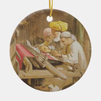 Cashmere Shawls: Weaving, 1863 (chromolitho) Christmas Ornament