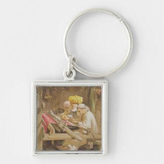 Cashmere Shawls: Weaving, 1863 (chromolitho) Silver-Colored Square Key Ring