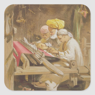 Cashmere Shawls: Weaving, 1863 (chromolitho) Square Sticker